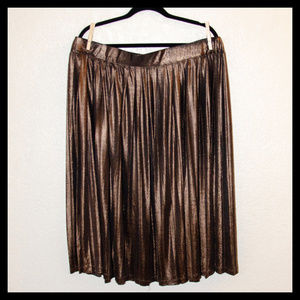 Eloquii Pleated Dark Gold Metallic Skirt 22W